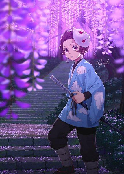 Tags: Anime, Pixiv Id 15982110, Kimetsu no Yaiba, Kamado Tanjirou, Wisteria, Fanart, Fanart From Pixiv, Pixiv