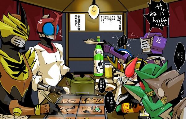 Tags: Anime, Pixiv Id 1802882, Kamen Rider Den-O, Kamen Rider Kabuto, Kamen Rider Ryuki, Kamen Rider Series, Kamen Rider Kiva, Kamen Rider Kabuto (Character), Kamen Rider PunchHopper, Kamen Rider Ixa, Kamen Rider KickHopper, Momotaros, Kamen Rider Ouja
