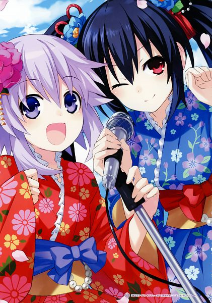 Tags: Anime, Tsunako, Tamsoft, Compile Heart, Neptune Series Hyperdimension Visual Chronicle, Choujigen Game Neptune, Kami Jigen Idol Neptune PP, Neptune (Choujigen Game Neptune), Noire (Choujigen Game Neptune), Official Art, Scan, Hyperdimension Neptunia: Producing Perfection