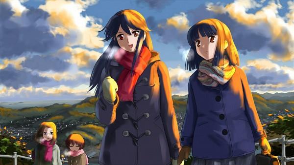 Tags: Anime, Kamichu, Saegusa Matsuri, Hitotsubashi Yurie, Saegusa Miko, Shijou Mitsue, Wallpaper, Original