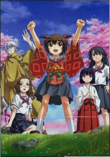 Tags: Anime, Uon Taraku, Brains Base (Studio), Kamichu, Megami #61 2005-06, Yashima-sama, Saegusa Miko, Saegusa Matsuri, Shijou Mitsue, Hitotsubashi Yurie, Spring, Official Art