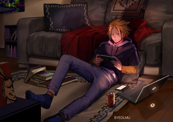 Tags: Anime, Byeolmu, Boku no Hero Academia, All Might, Kaminari Denki, Playing Games, Fanart, Twitter