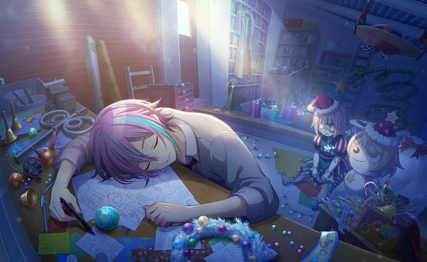 Tags: Anime, Project Sekai Colorful Stage! feat. Hatsune Miku, Kamishiro Rui, Bedroom, Laying Head On Desk, Official Card Illustration, Official Art