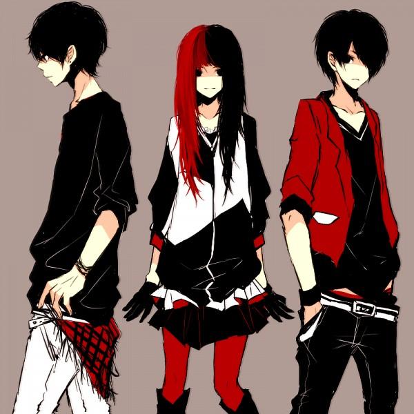 Tags: Anime, Kana (kwbr32), Symmetry, Great Buds, Red Legwear, Opposites, Pixiv, Original
