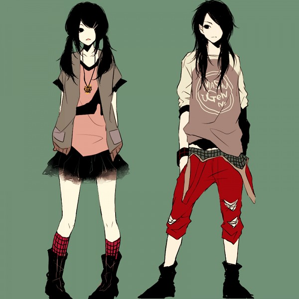 Tags: Anime, Kana (kwbr32), Opposites, Symmetry, Pixiv, Original, PNG Conversion