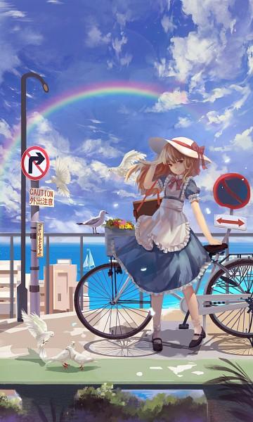 Tags: Anime, Pixiv Id 5100338, Touhou, Kana Anaberal, Text: Caution, White Bird, Boat, Mobile Wallpaper, Fanart, PC-98 Touhou Era, Pixiv, Fanart From Pixiv
