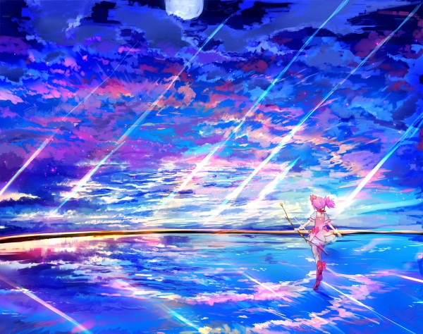 Tags: Anime, Ume (Plumblossom), Mahou Shoujo Madoka☆Magica, Kaname Madoka, Bright Colors, Water Reflection, Fanart, Fanart From Pixiv, Pixiv
