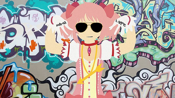 Tags: Anime, Mahou Shoujo Madoka☆Magica, Kaname Madoka, 1680x1050 Wallpaper, Graffiti, HD Wallpaper, Facebook Cover, Wallpaper, Artist Request