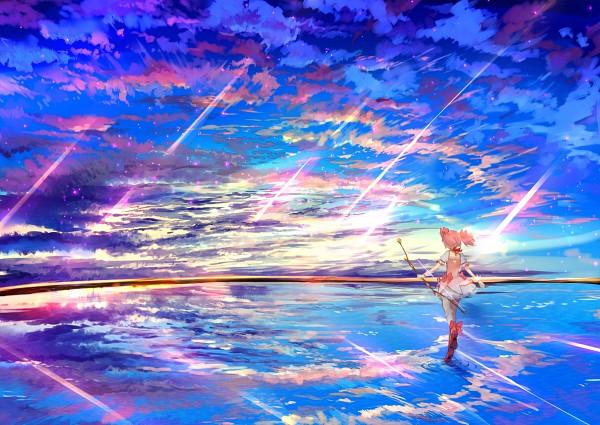 Tags: Anime, Ume (Plumblossom), Mahou Shoujo Madoka☆Magica, Kaname Madoka, Ripples, Walking On Water, Pixiv, Fanart