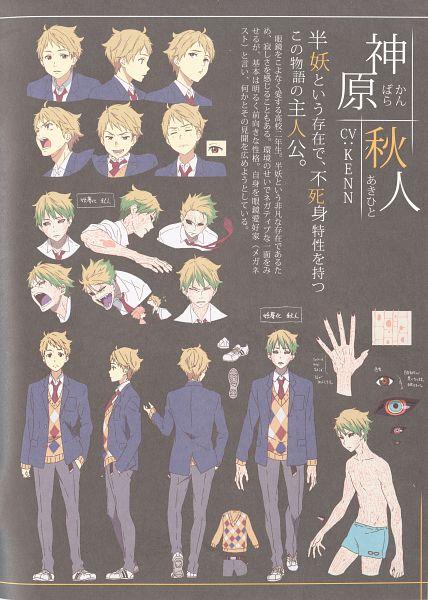 Tags: Anime, Kadowaki Miku, Kyoto Animation, Kyoukai no Kanata, Kanbara Akihito, Mobile Wallpaper, Official Art, Character Sheet, Official Character Information, Scan
