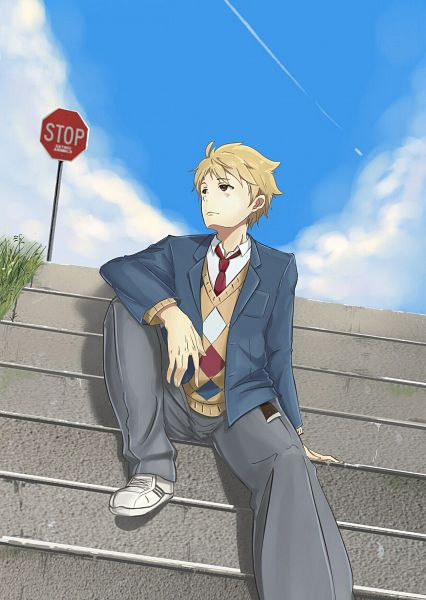 Tags: Anime, Pixiv Id 16778024, Kyoukai no Kanata, Kanbara Akihito, Sitting On Stairs, Stop Sign