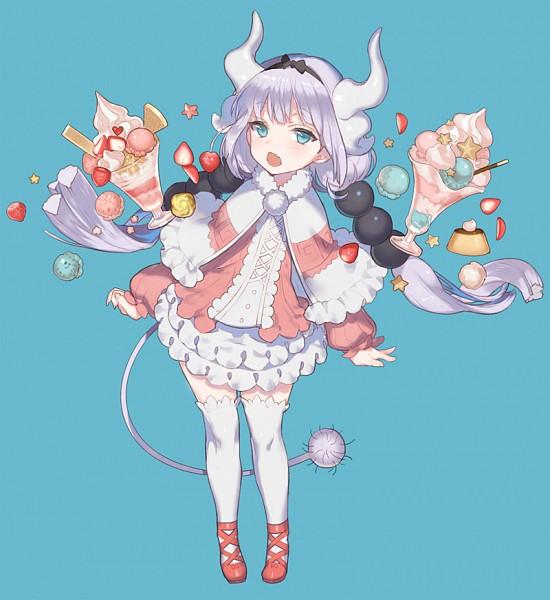 Tags: Anime, Kissai, Kobayashi-san Chi no Maid Dragon, Kanna Kamui, Pudding, Twitter, PNG Conversion, Fanart