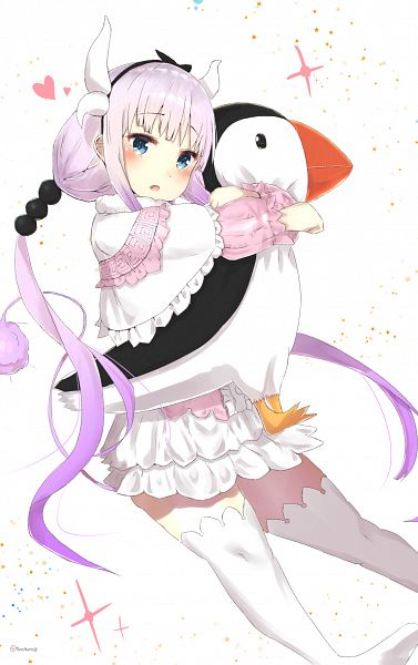 Tags: Anime, Pixiv Id 3877659, Kobayashi-san Chi no Maid Dragon, Kanna Kamui, Puffin, Mobile Wallpaper