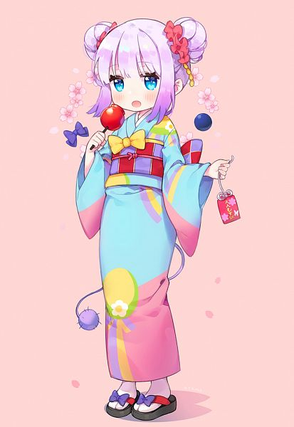 Tags: Anime, Ayami (Annahibi), Kobayashi-san Chi no Maid Dragon, Kanna Kamui, PNG Conversion, Mobile Wallpaper