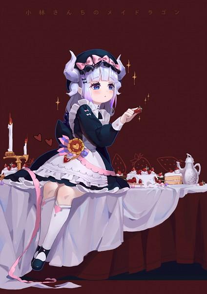 Tags: Anime, Pixiv Id 1290550, Kobayashi-san Chi no Maid Dragon, Kanna Kamui, Sitting On Table, Fanart, Fanart From Pixiv, Mobile Wallpaper, Pixiv