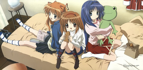 Tags: Anime, Ikeda Kazumi, KEY (Studio), Kyoto Animation, Megami #78 2006-11, Kanon (KEY), Tsukimiya Ayu, Sawatari Makoto, Minase Nayuki, Stuffed Frog, Taiyaki, Scan, Official Art