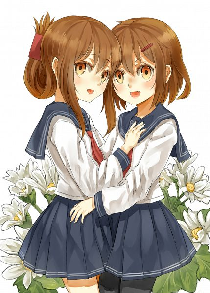 Tags: Anime, Pixiv Id 177701, Kantai Collection, Inazuma (Kantai Collection), Ikazuchi (Kantai Collection), Daisy (Flower), Fanart From Pixiv, Pixiv, Fanart