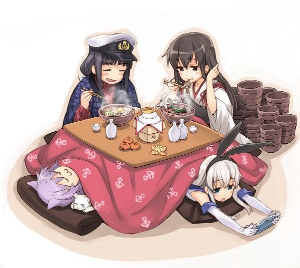 Tags: Anime, Matsuryu, Fashionplate, Kantai Collection, Shimakaze (Kantai Collection), Admiral (Kantai Collection), Matsuryu Admiral (Kantai Collection), Tama (Kantai Collection), Akagi (Kantai Collection), Hanten (Japanese Coat), Kagami Mochi, Kotatsu, Pixiv