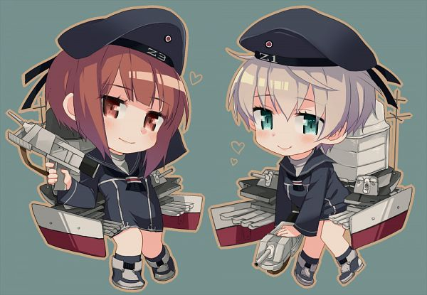 Tags: Anime, Pixiv Id 17895, Kantai Collection, Z3 Max Schultz (Kantai Collection), Z1 Leberecht Maass (Kantai Collection), PNG Conversion