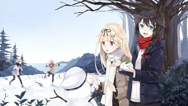 Tags: Anime, Hao (Patinnko), Kantai Collection, Shigure (Kantai Collection), Shiratsuyu (Kantai Collection), Yuudachi (Kantai Collection), Murasame (Kantai Collection), Snow Rabbit, HD Wallpaper, Happy 2016, Wallpaper