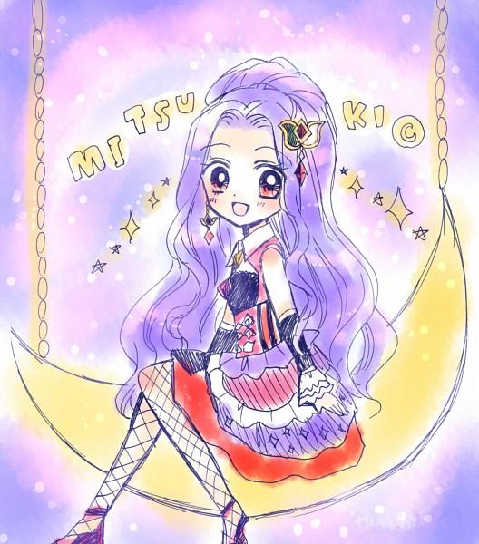 Tags: Anime, Ooka Saori, Aikatsu!, Kanzaki Mizuki, Sitting On Moon, Official Art