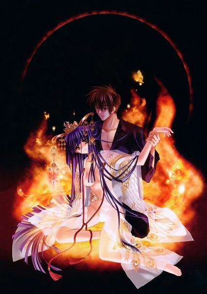 Tags: Anime, CARNELIAN, Benigyokuzui Vol 9, Kao no nai Tsuki, Koichi Hayama, Kuraki Suzuna, Official Art, Mobile Wallpaper, Scan