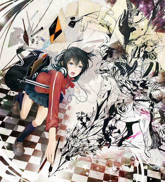 Tags: Anime, Kaoru Niou, Fountain, Drawing (Object), Whale, Ink, Eraser, Stationery, Drawing (Action), Paint My Life, Pixiv, Original, Revision
