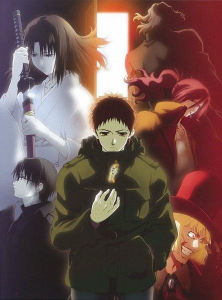 Tags: Anime, Kara no Kyoukai, Kokuto Mikiya, Aozaki Touko, Araya Souren, Cornelius Alba, Enjou Tomoe, Leather Clothes, Leather Gloves, Red Coat, Official Art, The Garden Of Sinners