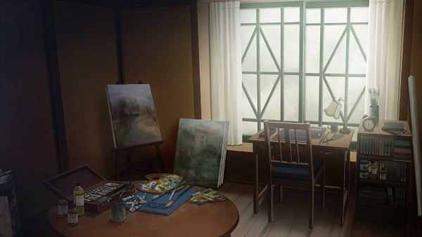 Tags: Anime, Sugina Miki, Innocent Grey, Kara no Shoujo 2, Easel, No Character, Canvas, Paint Tube, Palette (Object), Palette Knife, CG Art, Facebook Cover, Wallpaper, Empty Girl