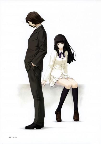 Tags: Anime, Sugina Miki, Innocent Grey, Nuregarasu, Kara no Shoujo, Tokisaka Reiji, Kuchiki Toko, Mobile Wallpaper