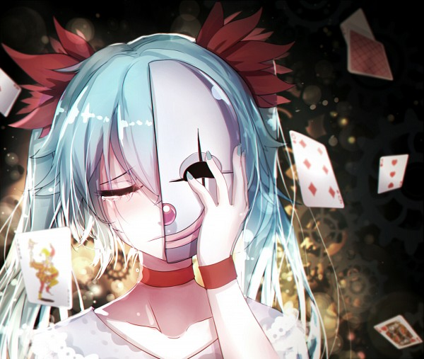 Tags: Anime, Qian Ye 2.S, Project DIVA F 2nd, VOCALOID, Hatsune Miku, Half Mask, Joker Card, Revision, Project DIVA Regret, Karakuri Pierrot, Fanart From Pixiv, Fanart, Pixiv, Clockwork Clown