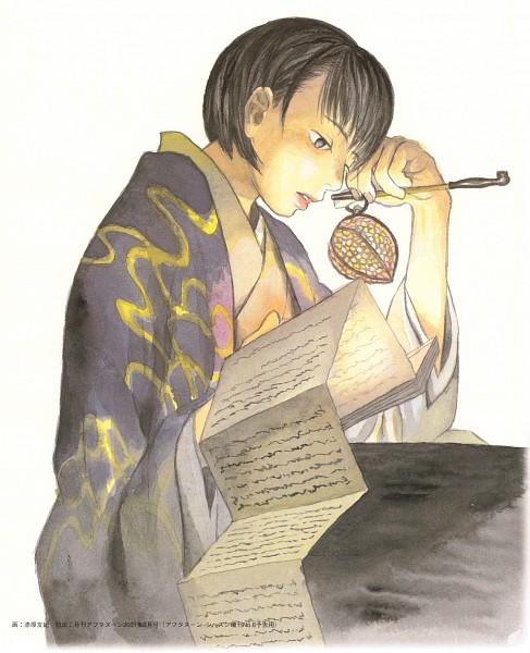 Tags: Anime, Urushibara Yuki, Mushishi, Karibusa Tanyuu, Scan, Official Art