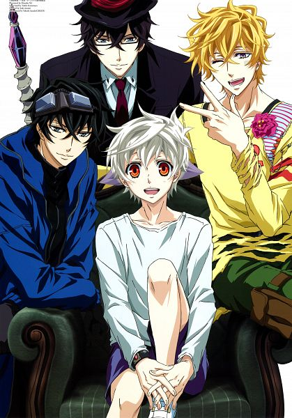 Tags: Anime, Nii Manabu, manglobe, Karneval, Yogi, Gareki, Hirato, Nai (Karneval), Official Art, Scan, Mobile Wallpaper