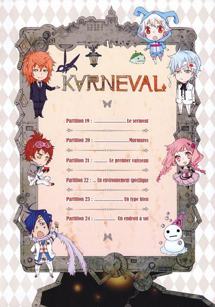 Tags: Anime, Mikanagi Touya, Karneval, Nai (Karneval), Kiharu, Yukkin, Eleska, Arumerita Karoku, Uro (Karneval), Kagiri, Official Art, Scan, Mobile Wallpaper