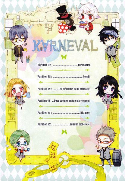 Tags: Anime, Mikanagi Touya, Karneval, Gareki, Seseri (Karneval), Shishi (Karneval), Jiki, Ranji, Hitsuji (Karneval), Nai (Karneval), Index Page, Scan, Official Art