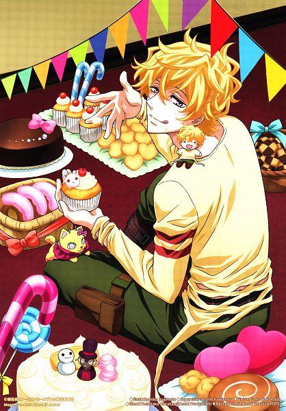 Tags: Anime, Sugimoto Sachiko, manglobe, Karneval, Nyanperona, Yukkin, Hitsuji (Karneval), Yogi, Candy Cane, Mobile Wallpaper, Scan, Official Art