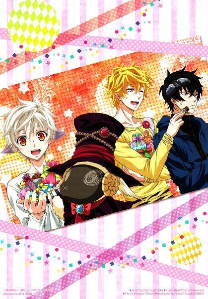 Tags: Anime, Sugimoto Sachiko, manglobe, Karneval, Gareki, Nai (Karneval), Hitsuji (Karneval), Yogi, Official Art, Scan, Mobile Wallpaper