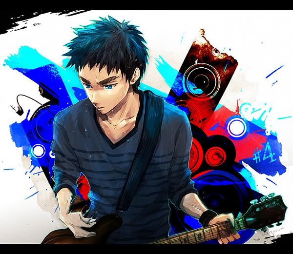 Tags: Anime, Pixiv Id 4438446, Kuroko no Basuke, Kasamatsu Yukio, Playing Guitar, Pixiv