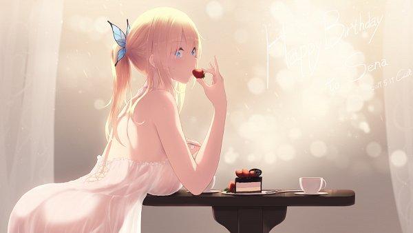 Tags: Anime, Cait, Boku wa Tomodachi ga Sukunai, Kashiwazaki Sena, Strawberry Shortcake, Pixiv, Fanart From Pixiv, Wallpaper, Fanart