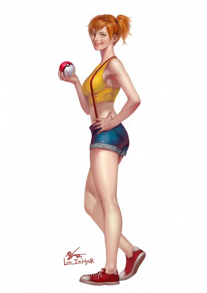 Tags: Anime, Inhyuk Lee, Pokémon Red & Green, Pokémon, Kasumi (Pokémon), Fanart, Mobile Wallpaper, Misty