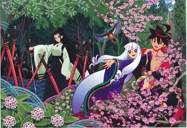 Tags: Anime, WHITE FOX, Katanagatari, Togame, Tsuruga Meisai, Yasuri Shichika, Sentou Tsurugi, Scan, Official Art, Sword Story