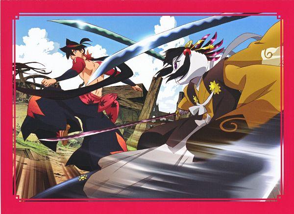 Tags: Anime, WHITE FOX, Katanagatari, Yasuri Shichika, Biyorigou, Extra Arms, Scan, Official Art, Sword Story
