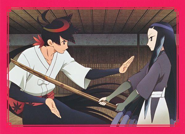 Tags: Anime, WHITE FOX, Katanagatari, Yasuri Shichika, Kiguchi Zanki, Shinai, Japanese House, Official Art, Scan, Sword Story