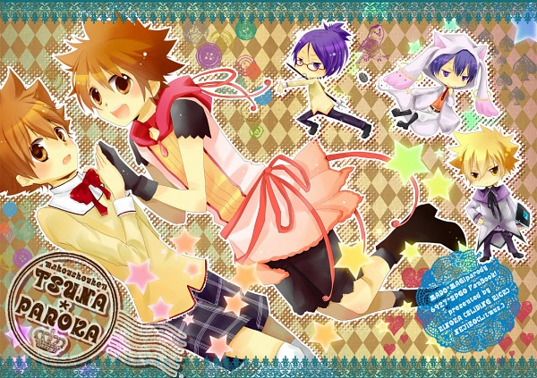Tags: Anime, Pixiv Id 1509192, Katekyo Hitman REBORN!, Hibari Kyoya, Sawada Tsunayoshi, Vongola Primo Giotto, Rokudou Mukuro, Akemi Homura (Cosplay), Kyubee (Cosplay), Kaname Madoka (Cosplay), Fanart, Pixiv, Fanart From Pixiv