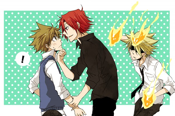 Tags: Anime, Pixiv ID 3874259, Katekyo Hitman REBORN!, Vongola Primo Giotto, Sawada Tsunayoshi, G., Dying Will Flame, Fanart, Fanart From Pixiv, Pixiv, PNG Conversion