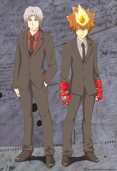 Tags: Anime, Venera Taro, Katekyo Hitman REBORN!, Sawada Tsunayoshi, Gokudera Hayato, X Gloves, Mobile Wallpaper, Fanart, deviantART