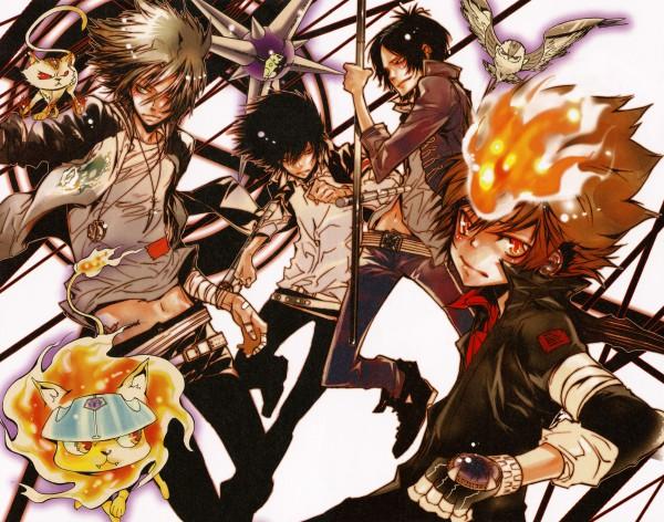 Tags: Anime, Amano Akira, Katekyo Hitman REBORN!, Colore!, Natsu (KHR), Sawada Tsunayoshi, Rokudou Mukuro, Gokudera Hayato, Mukurou, Hibari Kyoya, Roll (KHR), Uri (Katekyo Hitman REBORN!), Sky Flames