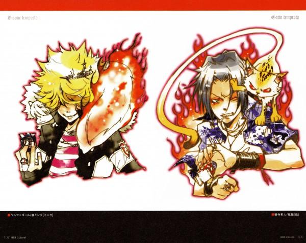 Tags: Anime, Amano Akira, Katekyo Hitman REBORN!, Colore!, Uri (Katekyo Hitman REBORN!), Gokudera Hayato, Belphegor, Mink, Vongola Ring, Mistagged, Varia Uniform, Wincing, Emblem