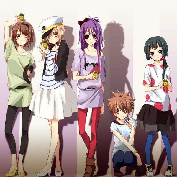 Tags: Anime, Pixiv Id 586667, Katekyo Hitman REBORN!, Chrome Dokuro, Miura Haru, Rokudou Mukuro, Yuni, Sasagawa Kyoko, Sawada Tsunayoshi, Pineapple, Tainaka Ritsu (Cosplay), Nakano Azusa (Cosplay), Hirasawa Yui (Cosplay)