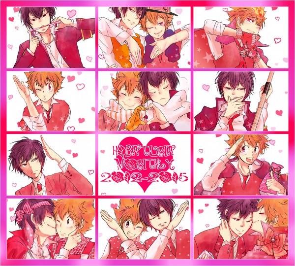 Tags: Anime, Kusuka, Katekyo Hitman REBORN!, Hibari Kyoya, Sawada Tsunayoshi, Heart Gesture Duo, X Gloves, Dying Will Flame, Tonfa, Fanart, Hātotoresu, HibaTsuna